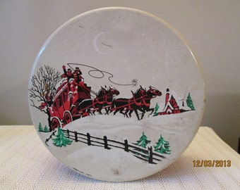 Vintage Christmas Storage Tin, Stage Coach and horses, Container, Gift Giving Tin, Kitchenware, Homedecor,