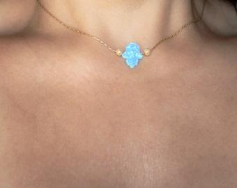 Opal Hamsa necklace, Opal Hamsa, blue opal Hamsa pendant, Gold necklace, Gold Hamsa necklace, Gold Opal hamsa necklace, hamsa necklace