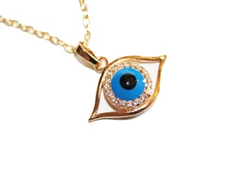 gold evil eye, silver evil eye, White Gold filled evil eye charm necklace, evil eye necklace
