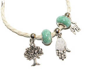 hamsa charm bracelet, tree of life, love, white, hamsa, turquoise, judaica jewelry, tree of life charm, bad eye, evil eye, love charm