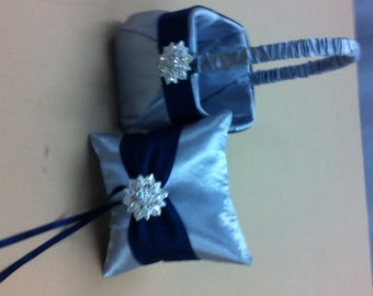 Silver with Navy Blue  Flower Girl Basket and Ring bearer Pillow with Bling