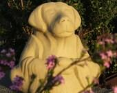 LARGE MEDITATING DOG - Solid Stone Original Copyrighted Garden Sculpture (v)