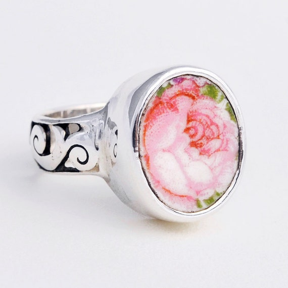 Size 6 Broken China Jewelry Vintage Pink Cabbage Rose Sterling Ring