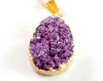 40% OFF  Violet - Natural Agate Titanium Druzy Geode Quartz Crystal Rough Cut Rock Nugget Necklace OOAK -Bridesmaid Gift Idea- SDN18