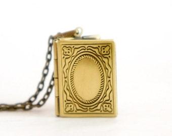 Tiny Book Locket - Tiny Vintage Style Antiqued Brass Book Locket Necklace - LN016