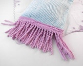 "Organic Sleep Pillow Vintage Turquoise/Purple Chenille Eyelet Lace Cover ""Hydrangea"""