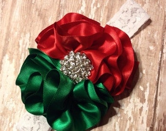 Red and green couture headband