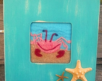 Spring Sale!!!! Needle Felted Crab Painting, With Shell Decorated Frame