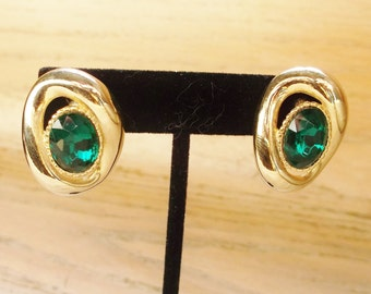 Earrings Green Gold Tone Pierced Vintage Wedding Jewelry Jewellery Accessories May Birthday Gift Guide Women Modern Mid Century