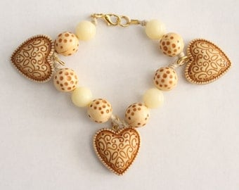75% OFF SALE - Vintage White And Brown Beaded Heart Charm Bracelet