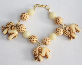 50% OFF SALE - vintage white and brown beaded elephant charm bracelet