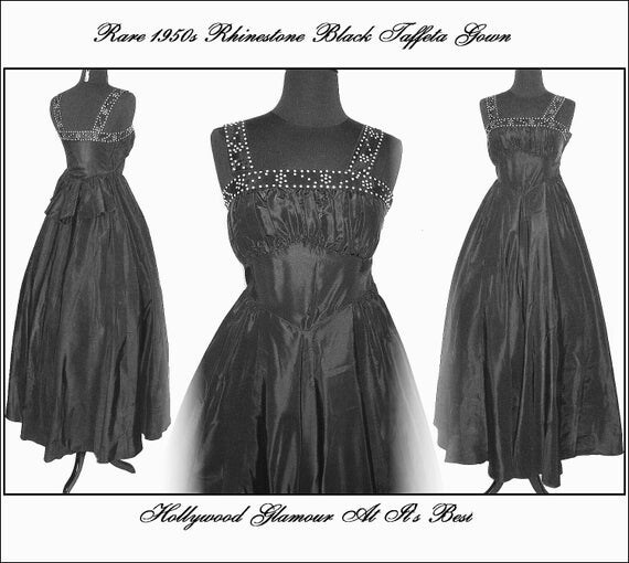 Vintage XS 1950s Full Circle Shelf Bust Dress Gown Couture Femme Fatal Garden Party Mad Men Black Rhinestone Cocktail Prom Pinup Bombshell