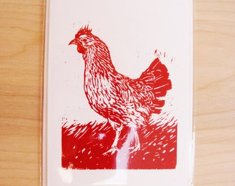 Chicken Blank Greeting Card Red
