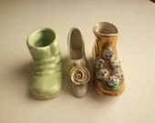 3 vintage miniature shoes . vintage pottery shoes . miniature ceramic shoes . dollhouse miniatures shadow box supplies . pin cushion shoes