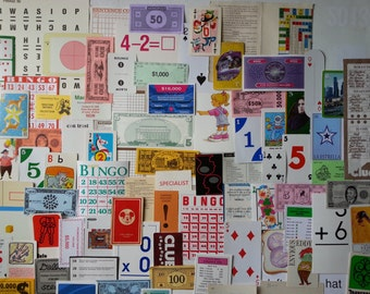 100 + fun and games ephemera | paper game pieces | mixed media supplies | assorted game pieces | scrapbooking paper | vintage game ephemera