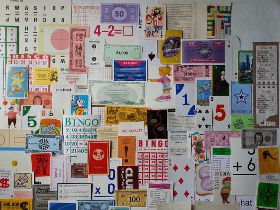 100 + fun and games ephemera . game pieces . mixed media layout supplies . assorted game pieces . scrapbooking paper . vintage game ephemera