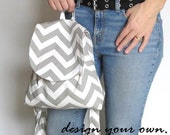 Backpack purse. Design your own in chevrons, paisley, princess, flowers. trends in greenery, orange, gray, black.