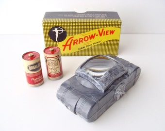 Vintage Arrow-View 35 mm Slide Viewer in Box: Working Single Slide Viewer w/ 2 Original 1955 Bright Star (dead, but collectible) Batteries