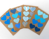 Blue Hearts Blank Note Card