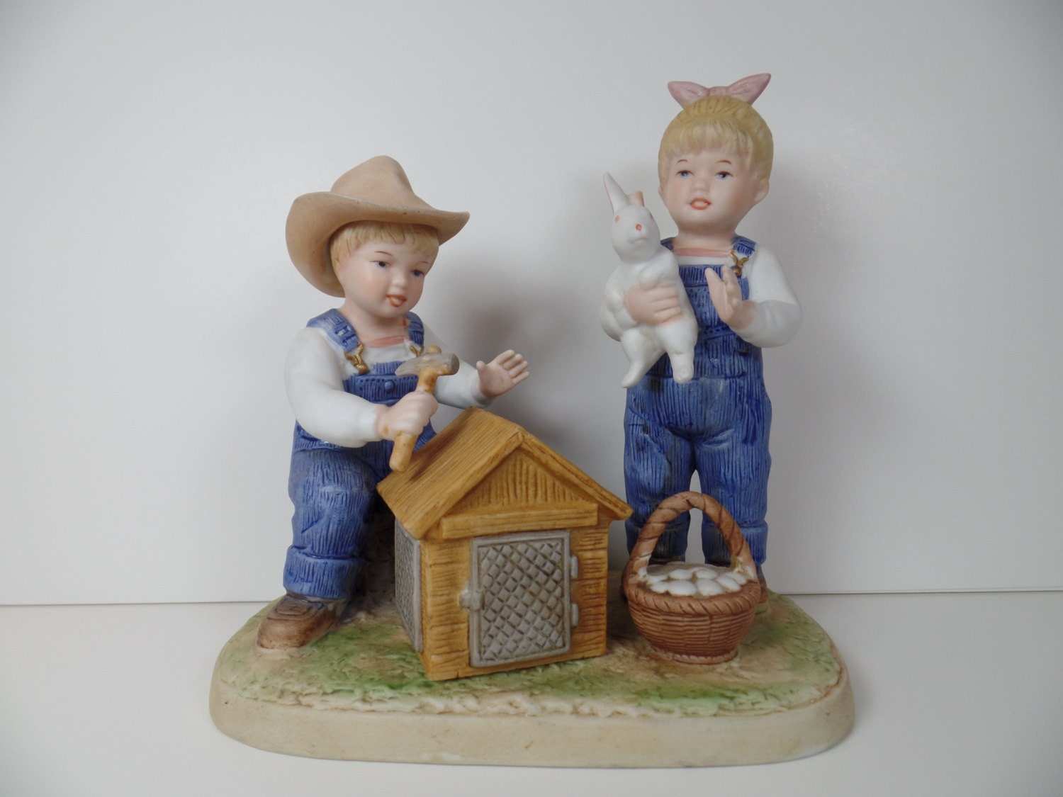 Vintage figurine homco denim days bunny by Home interiors denim das