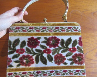Vintage 1960's Plush Velvet Purse, Carpet Purse