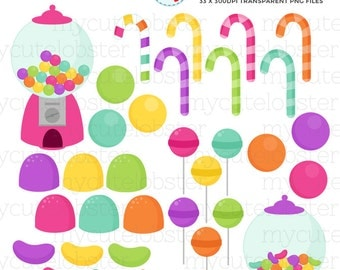 Gumball Machine Clipart Set - clip art set of candy, gumballs, lollipops, sweets - personal use, small commercial use, instant download