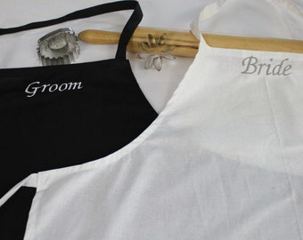 Bride & Groom Apron Set - White with Silver Sparkles - made to order