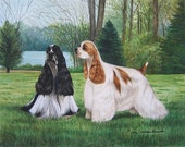 Spring Celebration, Cocker Spaniel giclee print by Cindy Alvarado