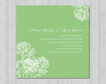 Printable Wedding Invitation - Peony Bliss