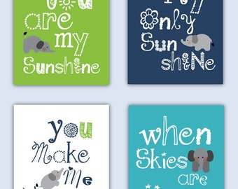 Elephant Nursery Art // You are my sunshine Art // Lime Navy and Aqua Art Prints // Navy and Aqua Nursery Decor // 4-8x10 PRINTS ONLY