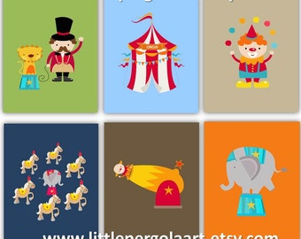 "Circus Nursery Decor // Nursery Wall Art // Circus Art for Kids Room // Cute Nursery Decor // Playroom Decor // Art For Kids // 8X10"" Prints"