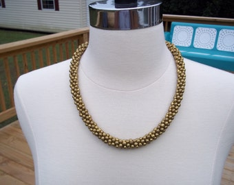 Vintage Gold Costume Jewelry Necklace Heavy Beaded