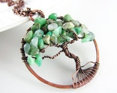 Tree Of Life Necklace Wire Wrapped Pendant Australian Jade Necklace Chrysoprase Copper Wire Wrapped Jewelry Tree of Life Pendant