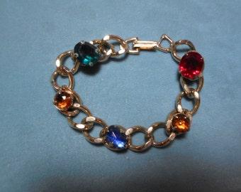 Vintage Gold Tone Large Pronged Rhinestone Bracelet Chunky Stones 1950s to 1970s Large Link