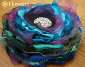 Fabric flower in blue, purple, green, Peacock fabric flower, Bridal flower, Wedding accessory, Peacock cake topper