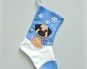 Pug Dog Personalized Christmas Stocking by Allenbrite Studio
