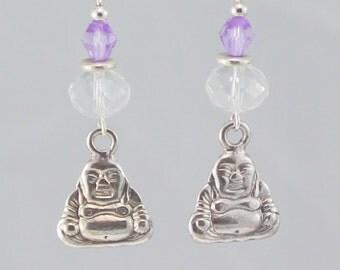 Buddha earrings, Buddah charm earrings, clear, lavendar earrings, Buddah dangle earrings, Buddah drop earrings