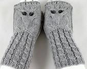 Owl Hand Warmers \ Fingerless Gloves Wool Light Grey