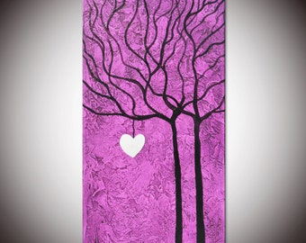 Abstract Purple Tree Painting, heart painting, Violet painting, love painting, heart painting, textured purple tree, marriage painting gift