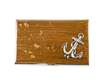 Anchor Business Card Holder Inlaid in Hand Painted Metallic Gold Nautical Admiralty Metal Wallet Custom Colors and Personalized Options