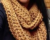 Handmade Infinity Scarf, Crochet Infinity Scarf, Warm Scarf, Brown, Choice of Colors