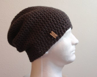 Slouchy Beanie Dark Gray - Crochet Slouch Beanie Mens Grey Beanie Hipster Hat - Vegan - Gray Slouchy Beanie - Fall Apparel - Holiday Gift