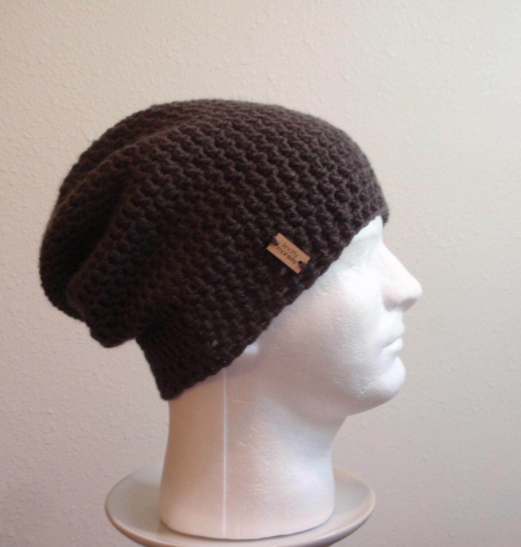 301e7622e6c Slouchy Beanie Dark Gray - Crochet Slouch Beanie Mens Grey Beanie Hipster  Hat - Vegan -
