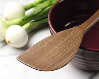 Heavy duty right handed wooden spatula for stirring and mixing of Walnut wood saute tool ,  robust with a thicker handle
