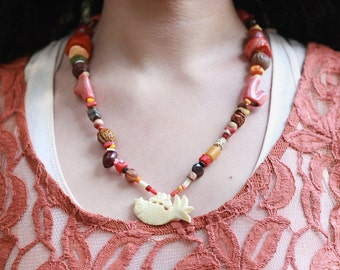 DEEP in the REEF Handcrafted Wood, Shell, Stone and Bone Beaded Pendant Necklace