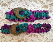 Peacock Wedding Garter Set - Violets in Purple and Jade Green with Peacock Feathers