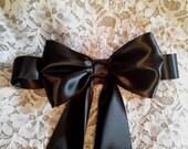 Black Satin Flower Girl Sash, Double Face Satin Ribbon Sash with Large Bow, Bridal Sashes, Flower Girl Sash