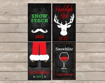 Christmas Wine Label Printable, Chalkboard Art Print, Wine Bottle Label