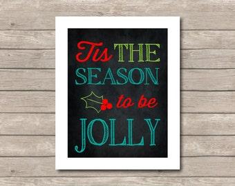 Tis the Season Christmas Printable, Christmas Art Print, red Green Teal Art