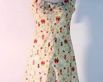 Rockabilly Woven SunDress w/ Neck Tie & Fairy Tale Print